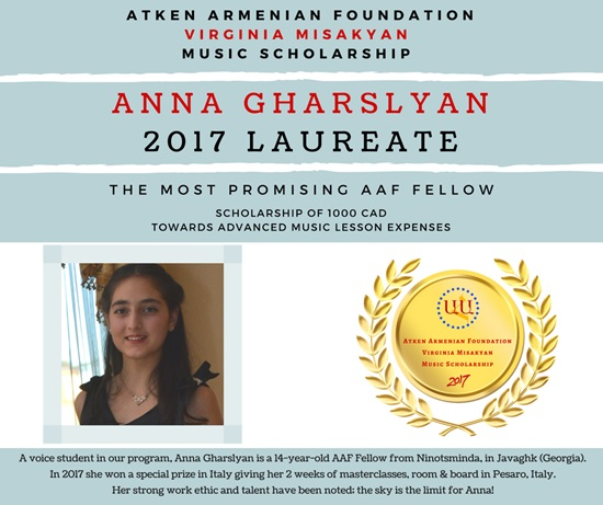 ANNA, WINNER OF THE 2017 AAF VIRGINIA MISAKYAN MUSIC SCHOLARSHIP