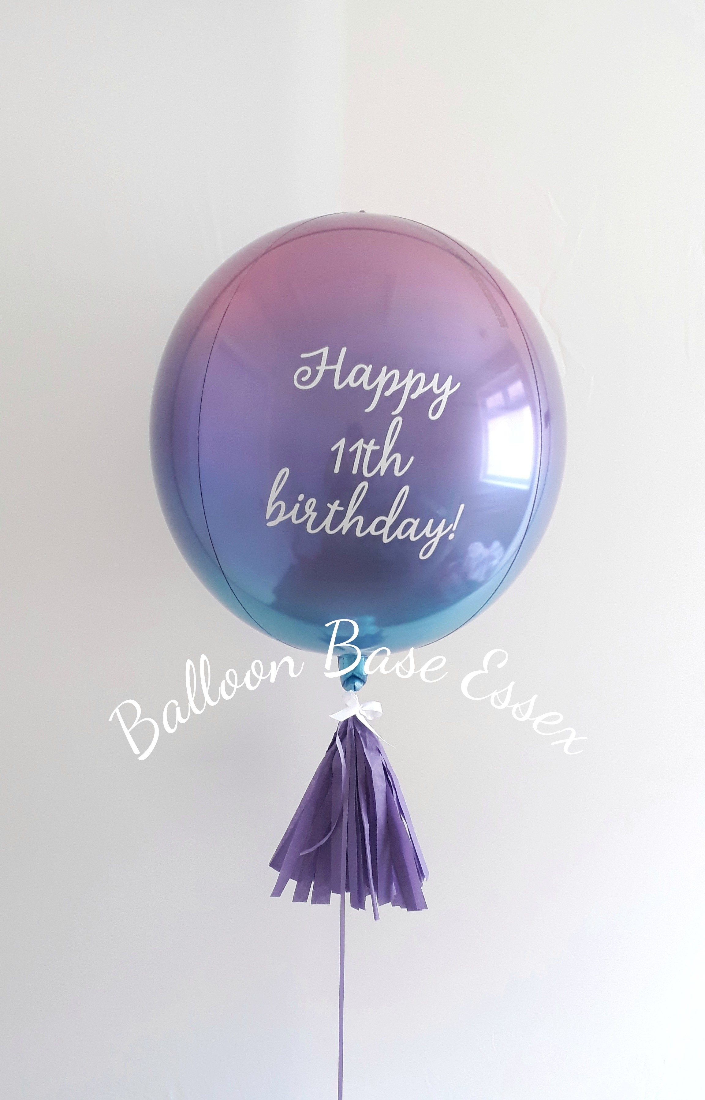 Pink purple and blue ombre 11th birthday balloon