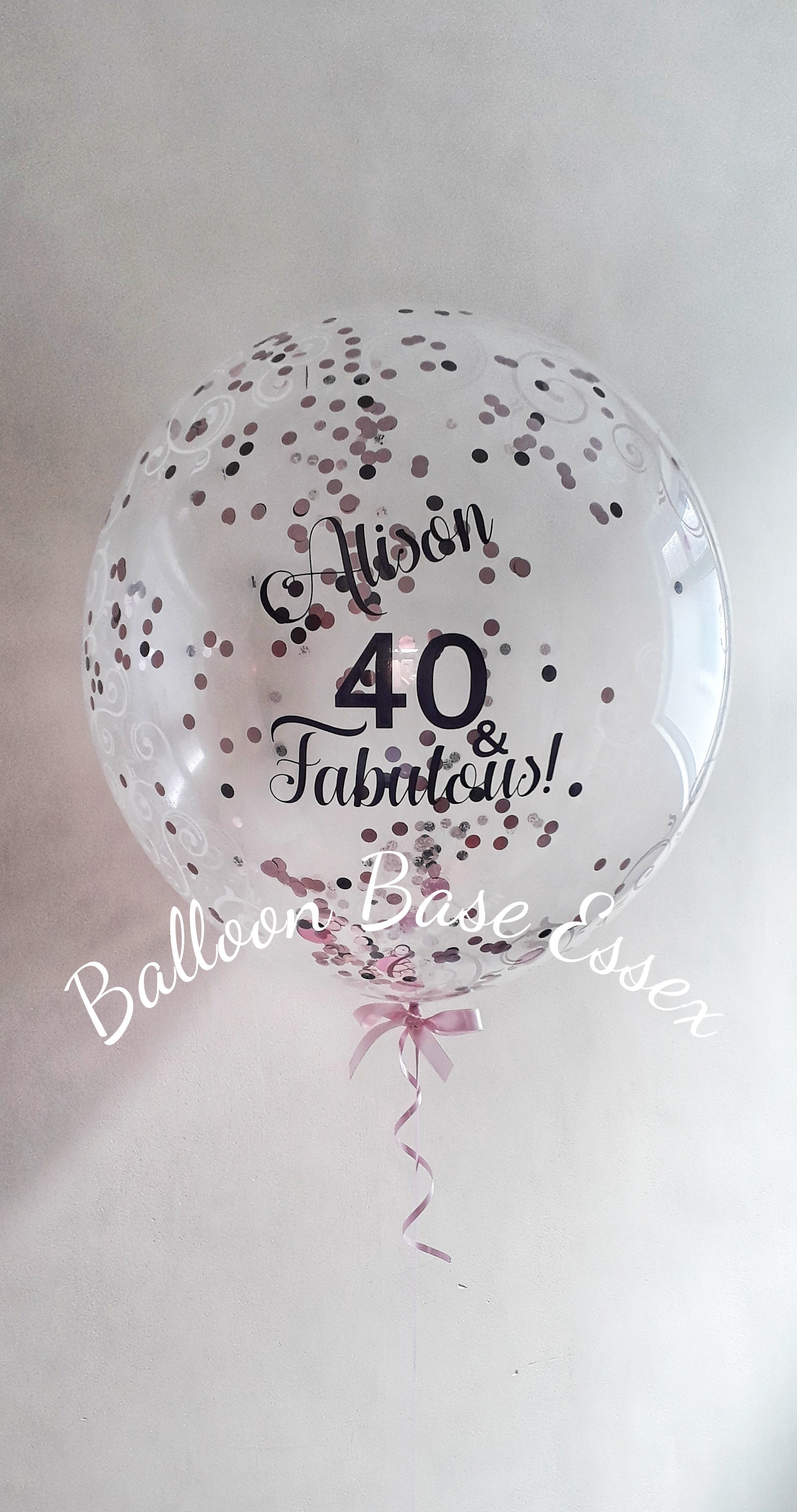 Clear 40th birthday balloon with round confetti