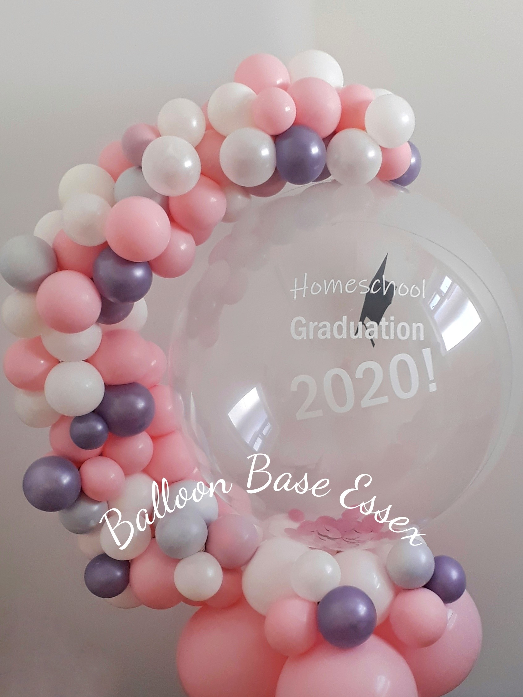 Clear balloon with organic garland