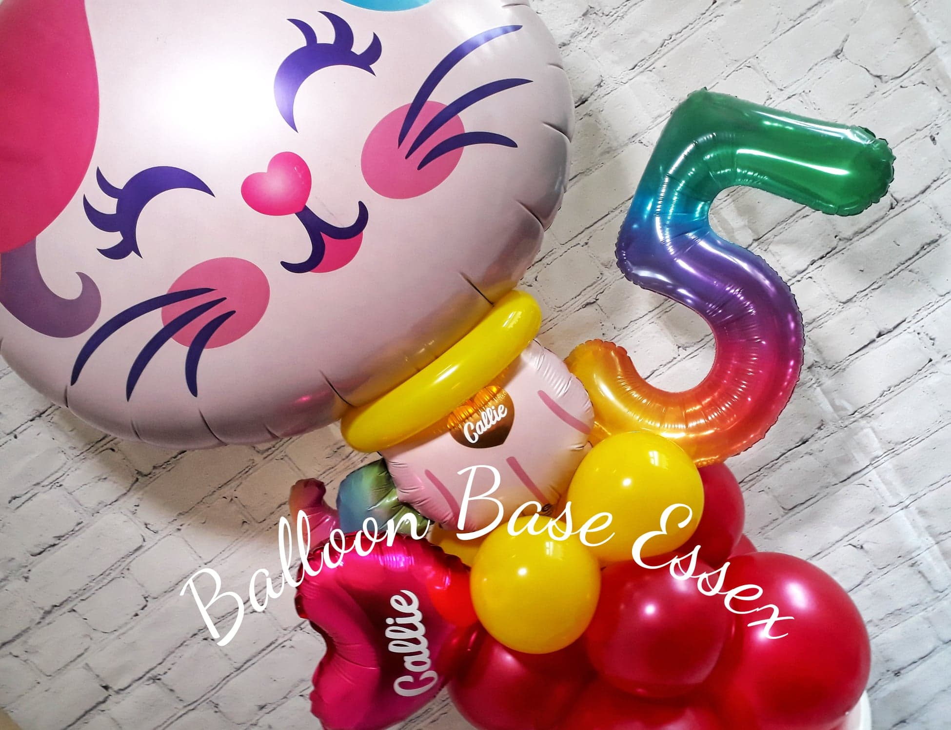 Pink cat 5th birthday balloons