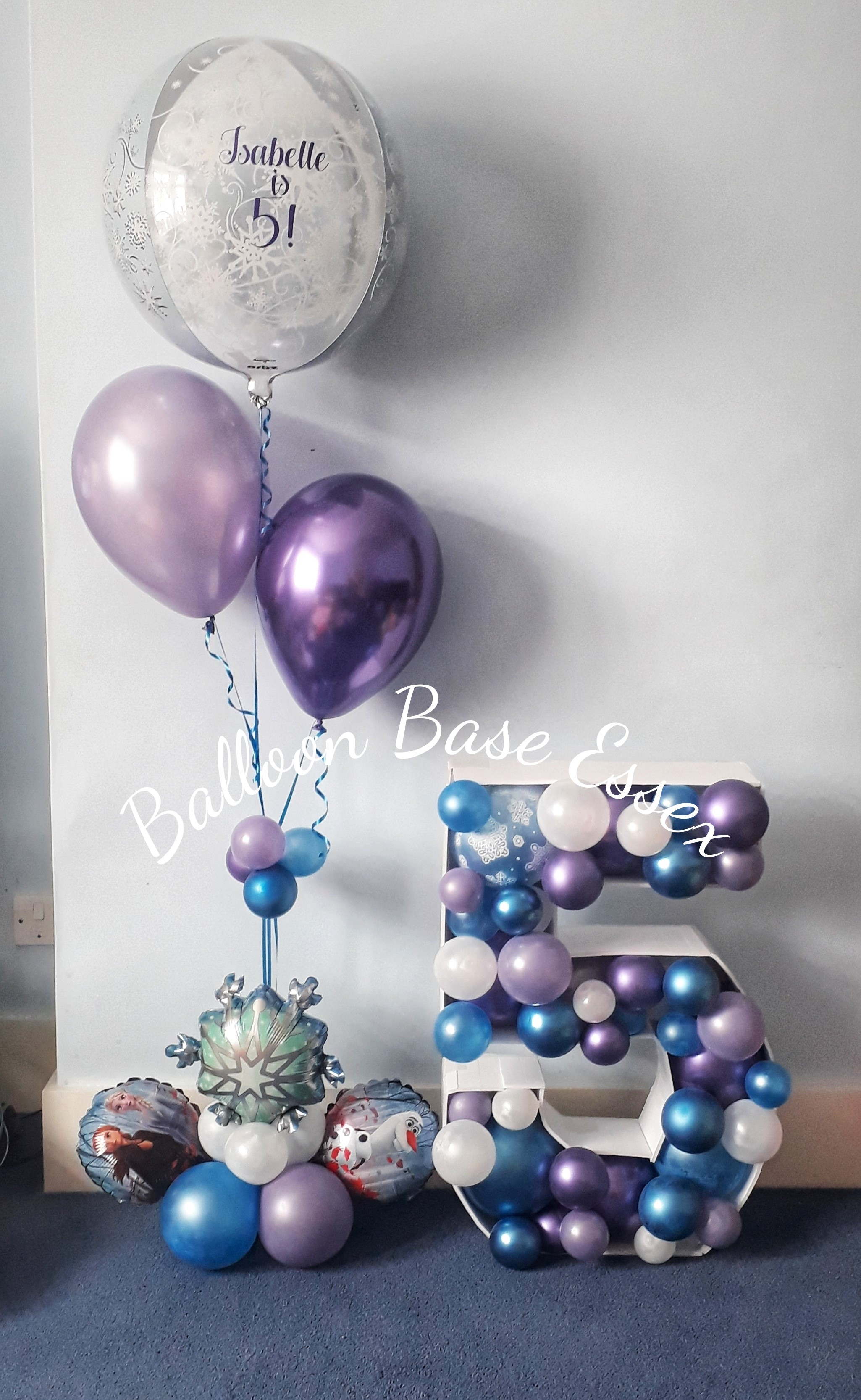 Purple blue and white 5th birthday balloons