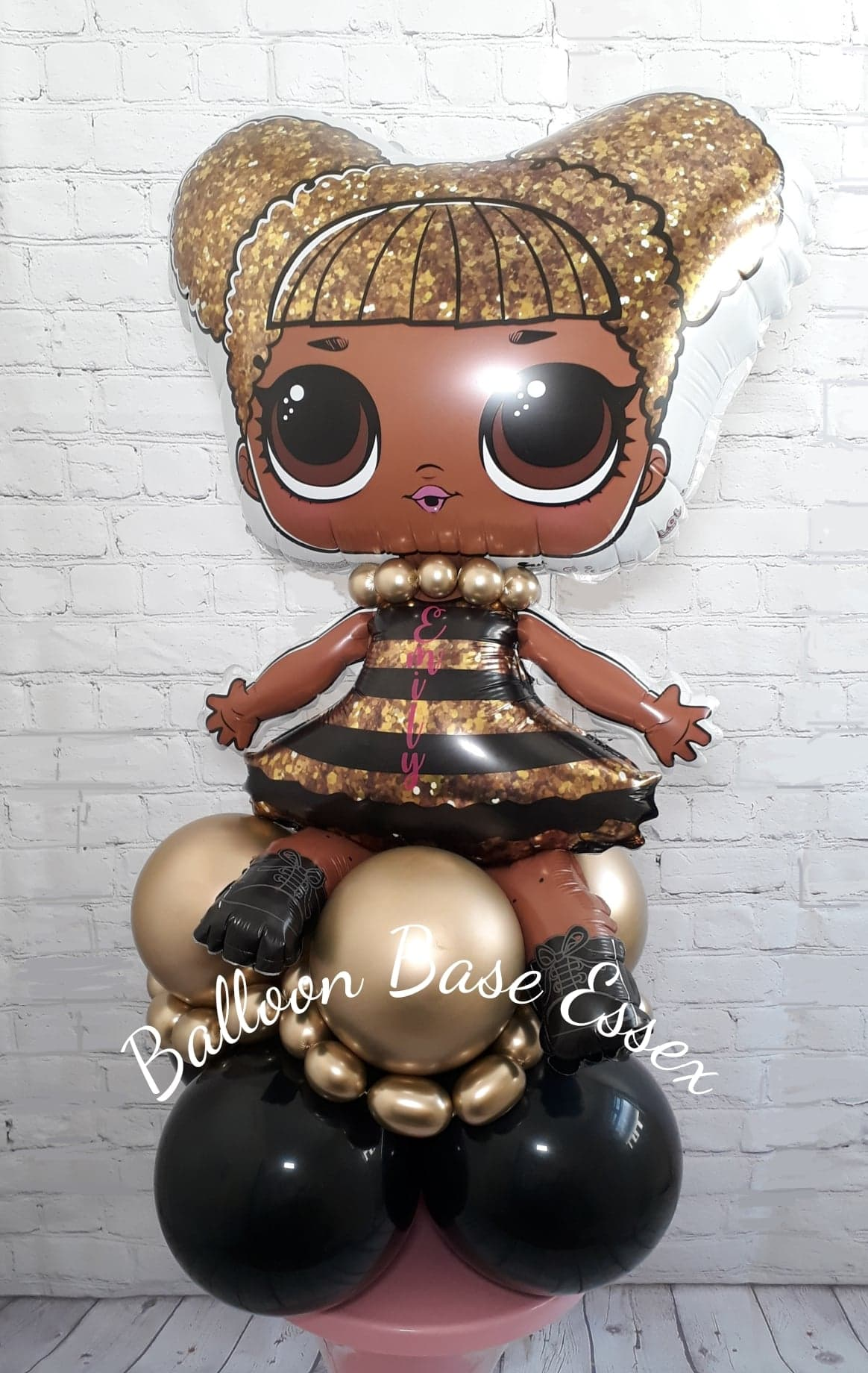 Doll balloon stack in black and gold