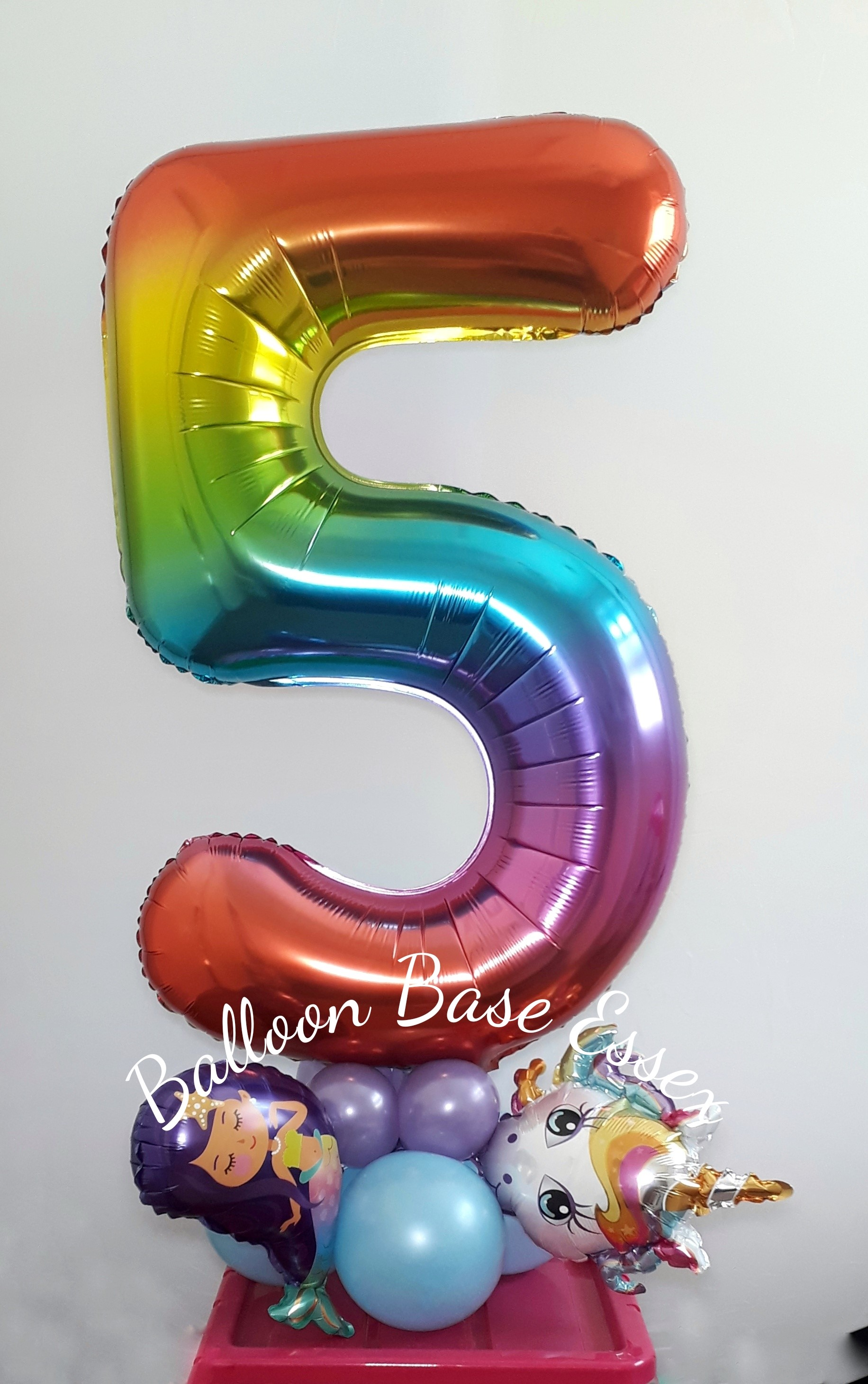 Rainbow colour number five balloon
