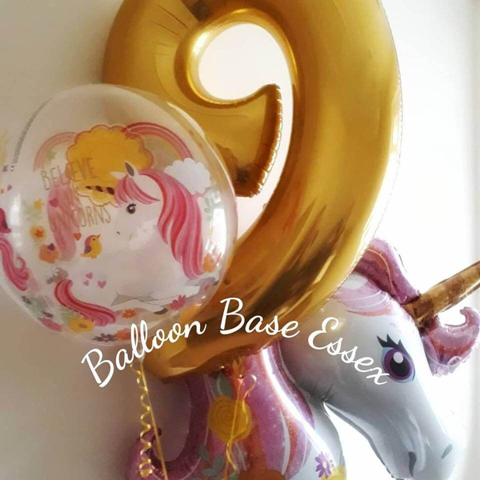 Pink and gold unicorn theme balloons