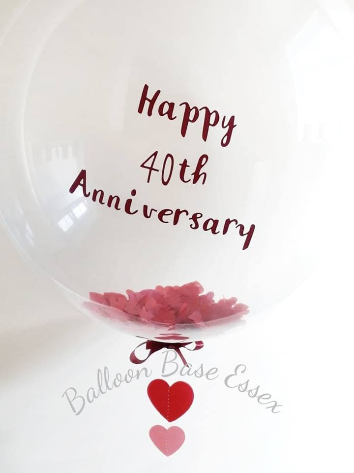 4oth anniversary clear balloon with red heart confetti