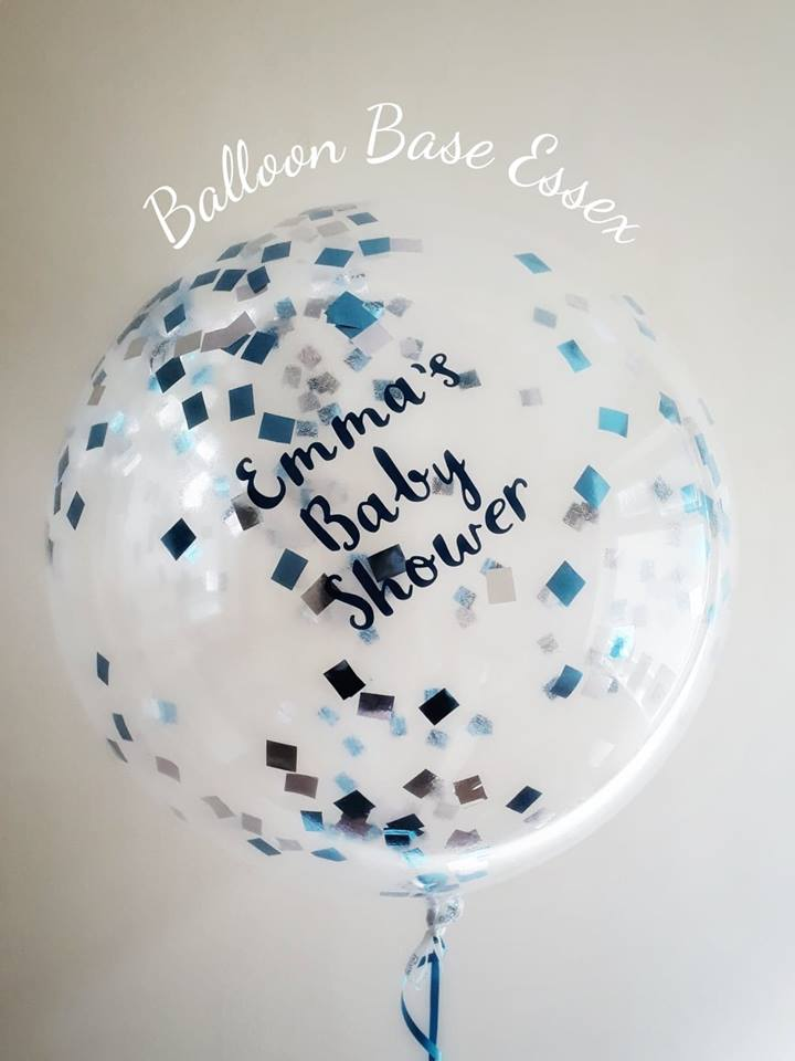 Personalised baby shower clear balloon with blue and silver confetti