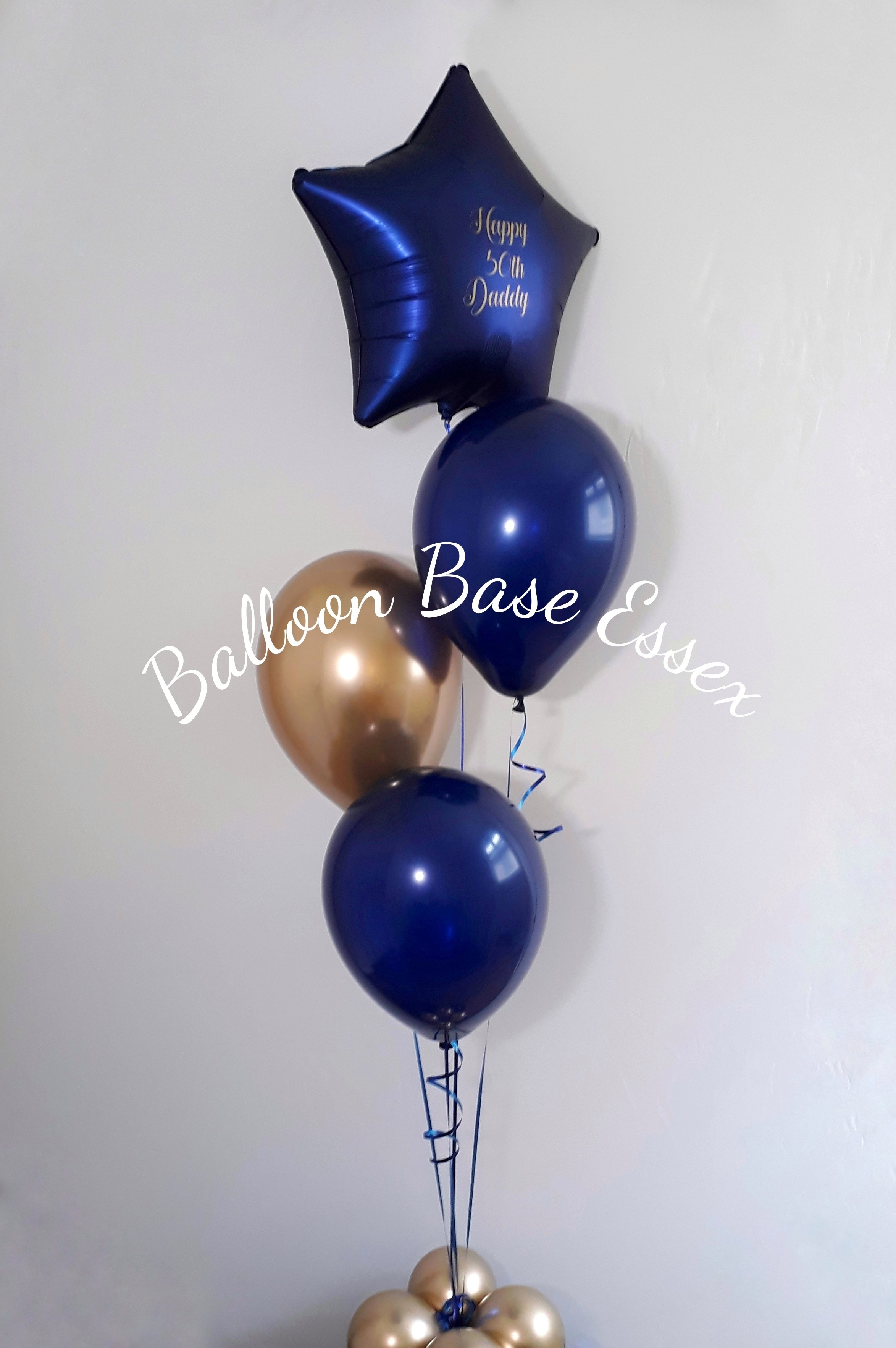 Navy and gold balloon bouquet