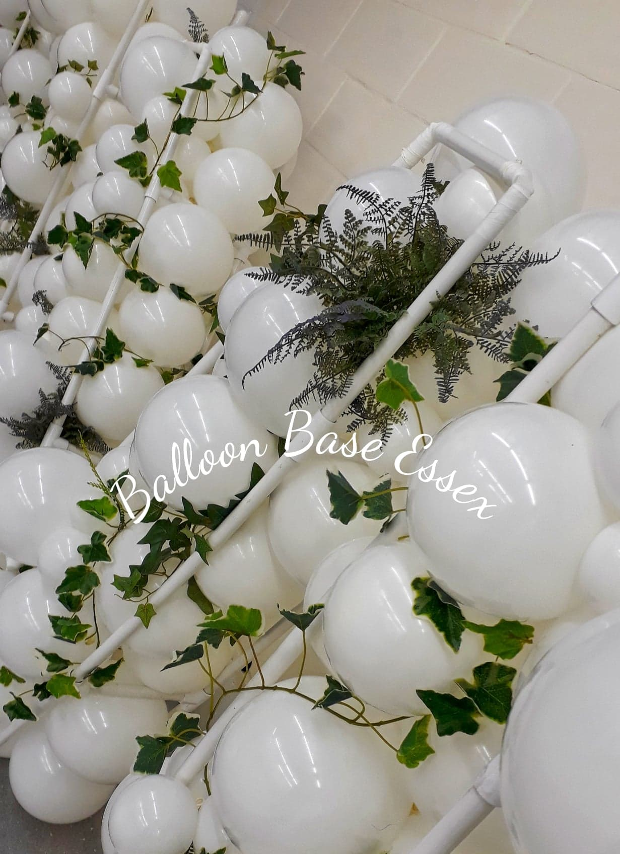 White organic style balloons with foliage