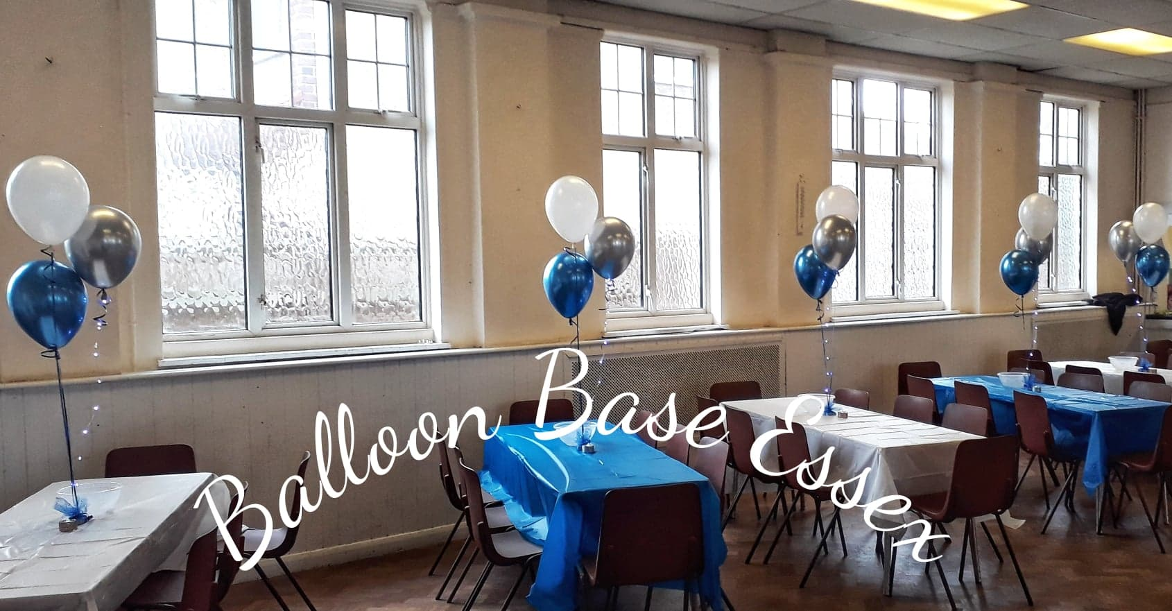 blue white and silver balloon decoration