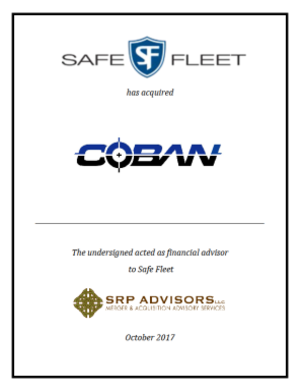 SRP Advisors, LLC Represents Safe Fleet in the Acquisition of COBAN Technologies