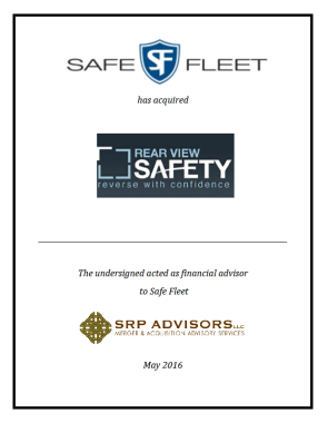 SRP Advisors, LLC Represents Safe Fleet in Acquisition of Rear View Safety