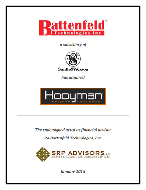 SRP Advisors, LLC Represents Battenfeld Technologies in Acquisition of Hooyman Saws