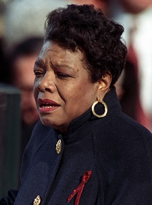 "Maya Angelou reciting her poem ""On the Pulse of Morning"" at US President Bill Clinton's inauguration, January 20, 1993"