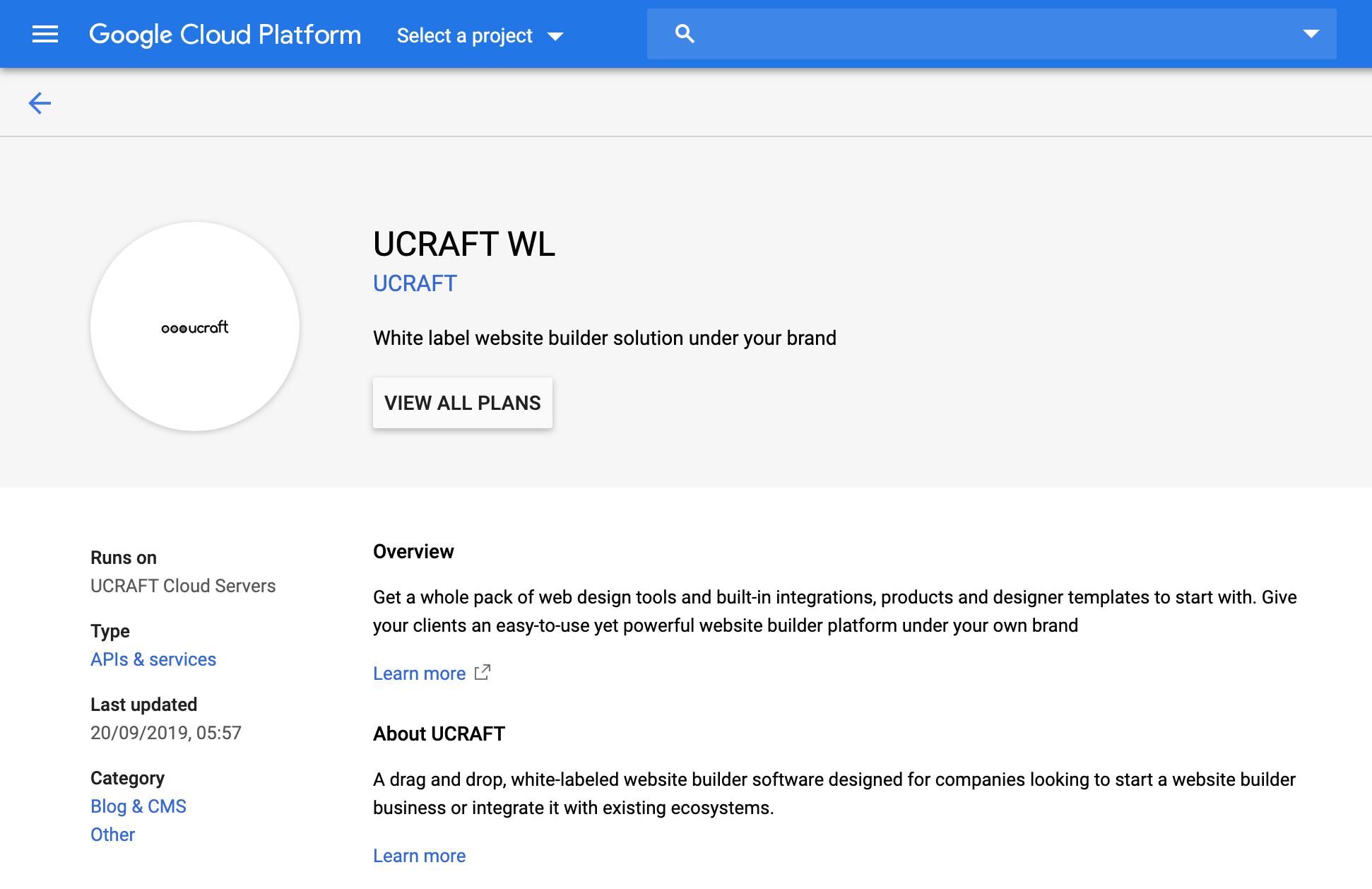 ucraft-ը google հարթակում