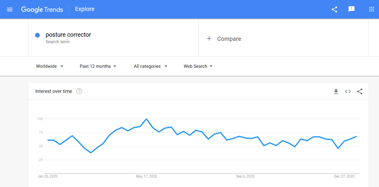 Posture corrector search trends in the past 12 months